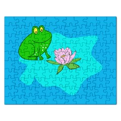 Frog Flower Lilypad Lily Pad Water Rectangular Jigsaw Puzzl