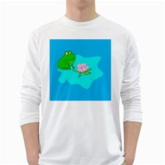 Frog Flower Lilypad Lily Pad Water White Long Sleeve T Shirts
