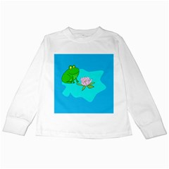 Frog Flower Lilypad Lily Pad Water Kids Long Sleeve T Shirts