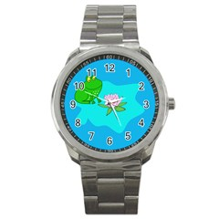 Frog Flower Lilypad Lily Pad Water Sport Metal Watch