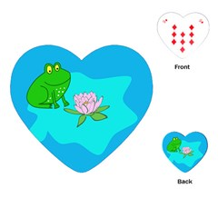 Frog Flower Lilypad Lily Pad Water Playing Cards (Heart)