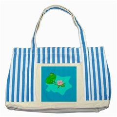 Frog Flower Lilypad Lily Pad Water Striped Blue Tote Bag