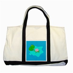 Frog Flower Lilypad Lily Pad Water Two Tone Tote Bag