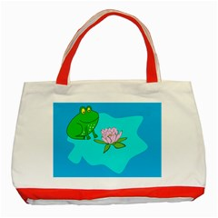 Frog Flower Lilypad Lily Pad Water Classic Tote Bag (red)