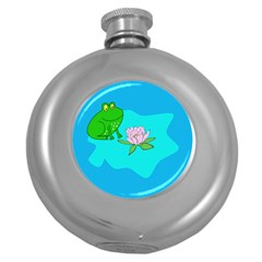 Frog Flower Lilypad Lily Pad Water Round Hip Flask (5 Oz)