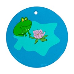 Frog Flower Lilypad Lily Pad Water Round Ornament (two Sides)