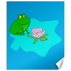 Frog Flower Lilypad Lily Pad Water Canvas 8  X 10
