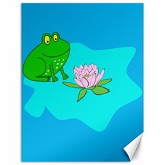 Frog Flower Lilypad Lily Pad Water Canvas 12  x 16