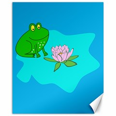 Frog Flower Lilypad Lily Pad Water Canvas 16  X 20