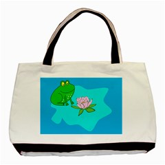 Frog Flower Lilypad Lily Pad Water Basic Tote Bag (Two Sides)