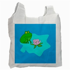 Frog Flower Lilypad Lily Pad Water Recycle Bag (One Side)