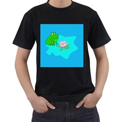 Frog Flower Lilypad Lily Pad Water Men s T-Shirt (Black)