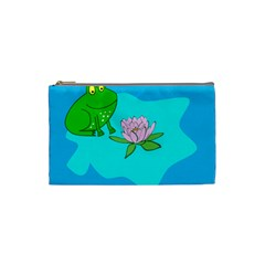 Frog Flower Lilypad Lily Pad Water Cosmetic Bag (Small)