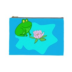 Frog Flower Lilypad Lily Pad Water Cosmetic Bag (Large)
