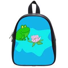 Frog Flower Lilypad Lily Pad Water School Bags (Small)