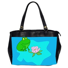 Frog Flower Lilypad Lily Pad Water Office Handbags (2 Sides)