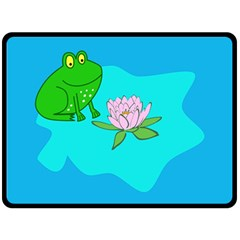 Frog Flower Lilypad Lily Pad Water Fleece Blanket (Large)