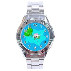 Frog Flower Lilypad Lily Pad Water Stainless Steel Analogue Watch
