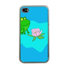 Frog Flower Lilypad Lily Pad Water Apple iPhone 4 Case (Clear)