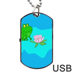 Frog Flower Lilypad Lily Pad Water Dog Tag USB Flash (Two Sides)
