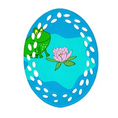 Frog Flower Lilypad Lily Pad Water Ornament (oval Filigree)