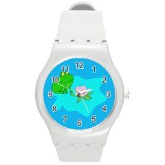Frog Flower Lilypad Lily Pad Water Round Plastic Sport Watch (m)