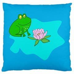 Frog Flower Lilypad Lily Pad Water Large Cushion Case (Two Sides)