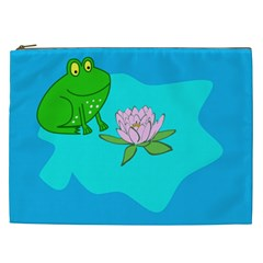 Frog Flower Lilypad Lily Pad Water Cosmetic Bag (XXL)