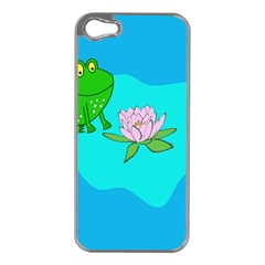 Frog Flower Lilypad Lily Pad Water Apple Iphone 5 Case (silver)