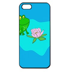 Frog Flower Lilypad Lily Pad Water Apple iPhone 5 Seamless Case (Black)