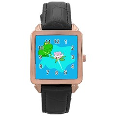 Frog Flower Lilypad Lily Pad Water Rose Gold Leather Watch
