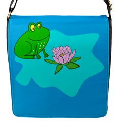 Frog Flower Lilypad Lily Pad Water Flap Messenger Bag (S)