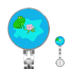 Frog Flower Lilypad Lily Pad Water Stainless Steel Nurses Watch