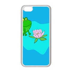 Frog Flower Lilypad Lily Pad Water Apple Iphone 5c Seamless Case (white)