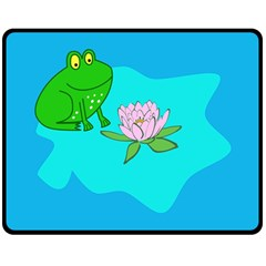 Frog Flower Lilypad Lily Pad Water Double Sided Fleece Blanket (medium)