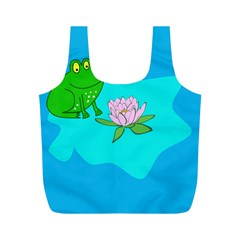 Frog Flower Lilypad Lily Pad Water Full Print Recycle Bags (M)