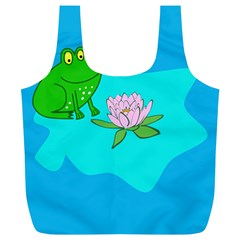 Frog Flower Lilypad Lily Pad Water Full Print Recycle Bags (l)