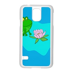 Frog Flower Lilypad Lily Pad Water Samsung Galaxy S5 Case (white)
