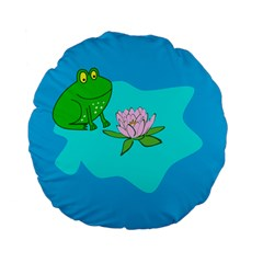 Frog Flower Lilypad Lily Pad Water Standard 15  Premium Flano Round Cushions