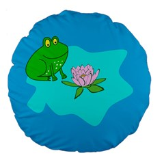 Frog Flower Lilypad Lily Pad Water Large 18  Premium Flano Round Cushions