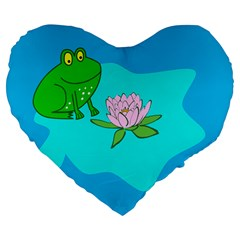 Frog Flower Lilypad Lily Pad Water Large 19  Premium Flano Heart Shape Cushions