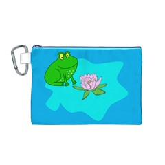 Frog Flower Lilypad Lily Pad Water Canvas Cosmetic Bag (M)