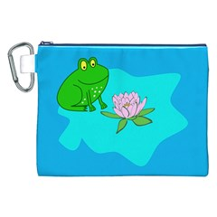 Frog Flower Lilypad Lily Pad Water Canvas Cosmetic Bag (XXL)
