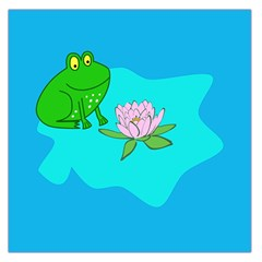 Frog Flower Lilypad Lily Pad Water Large Satin Scarf (square)
