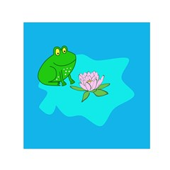 Frog Flower Lilypad Lily Pad Water Small Satin Scarf (Square)