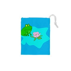 Frog Flower Lilypad Lily Pad Water Drawstring Pouches (XS)