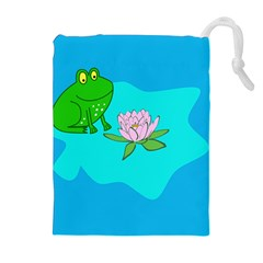 Frog Flower Lilypad Lily Pad Water Drawstring Pouches (extra Large)