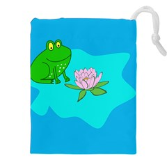 Frog Flower Lilypad Lily Pad Water Drawstring Pouches (xxl)