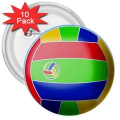 Balloon Volleyball Ball Sport 3  Buttons (10 Pack)