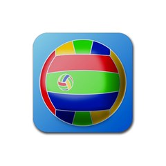 Balloon Volleyball Ball Sport Rubber Square Coaster (4 pack)
